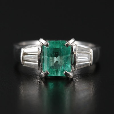 Platinum 1.01 CT Emerald Ring with Diamond Shoulders
