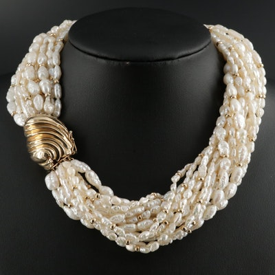 14K Yellow Gold Cultured Pearl Torsade Necklace