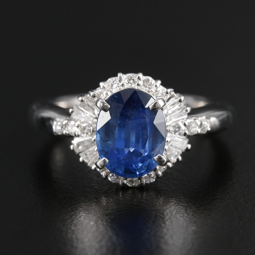 Platinum 1.92 CT Sapphire and Diamond Ring