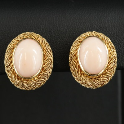 18K Yellow Gold Coral Braided Button Earrings