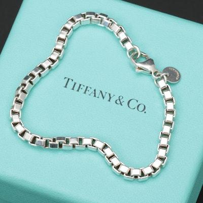 Tiffany & Co Sterling Silver Box Link Bracelet