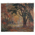 August Lundberg Forest Landscape Oil Painting, Late 19th to Early 20th Century