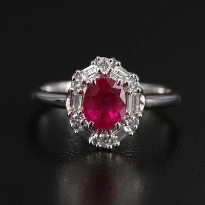 Platinum 1.10 CT Ruby With Diamond Halo Ring