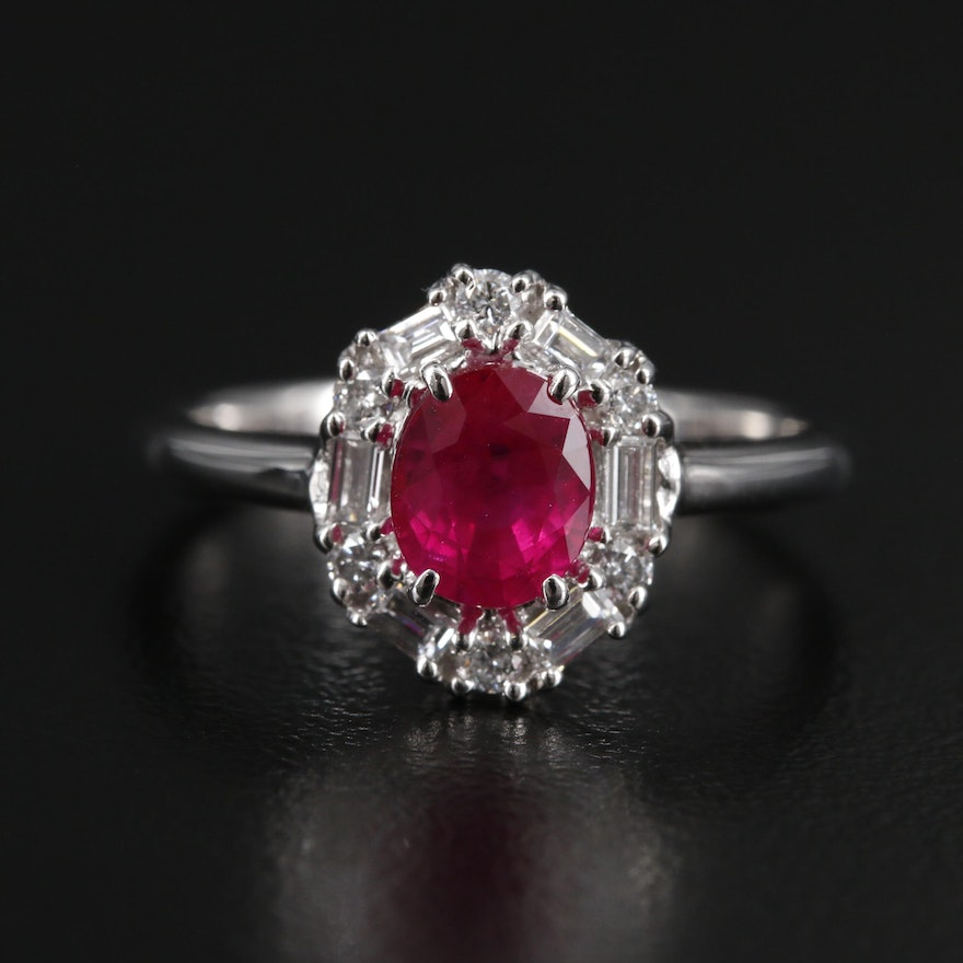 Platinum 1.10 CT Ruby With Diamond Halo Ring