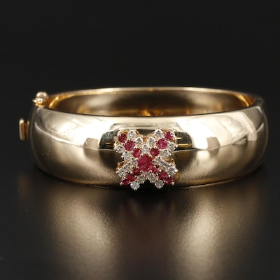 """14K Yellow Gold Hinged Bangle Featuring Ruby and 0.90 CTW Diamond """"X"""" Cluster"""