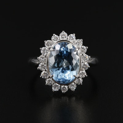 Platinum 3.18 CT Aquamarine Ring with Diamond Halo