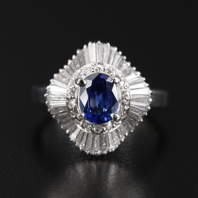 Platinum 0.96 CT Sapphire and 1.02 CTW Diamond Ballerina Ring