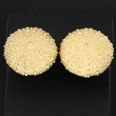 Tony White Australian 18K Yellow Gold Sea Urchin Clip-On Earrings