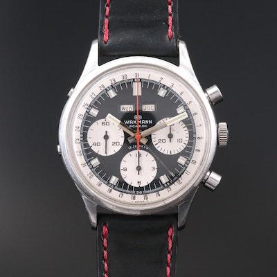 Vintage Wakmann Triple Calendar Chronograph Stainless Steel Wristwatch