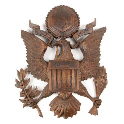 "Carved Pine ""E Pluribus Unum"" American Eagle Wall Plaque, Mid-20th Century"
