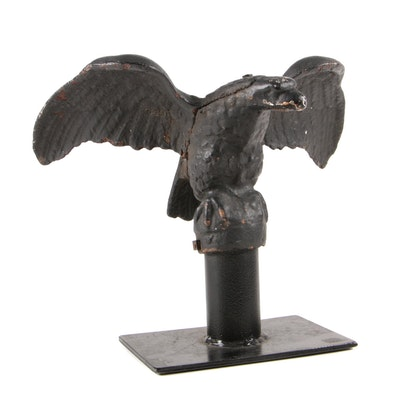 Cast Iron Eagle Flag Pole Finial on Stand, Late 19th / Early 20th Century