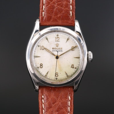 1952 Rolex Oyster Arabic Dial Stainless Steel Wristwatch