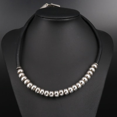 Mexican Sterling Silver Beaded Cord Necklace