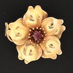Antique 14K Gold Garnet Floral Converter Brooch