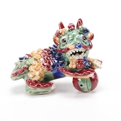 Chinese Ceramic Qilin Lion Figurine