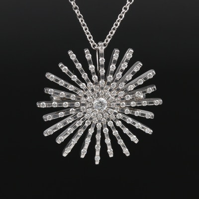 18K White Gold 1.10 CTW Diamond Starburst Converter Brooch on 14K Chain