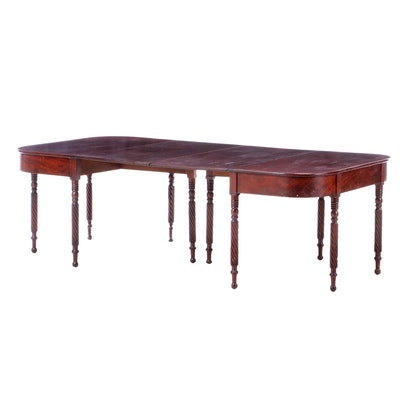 American Classical Mahogany Two-Part Dining Table