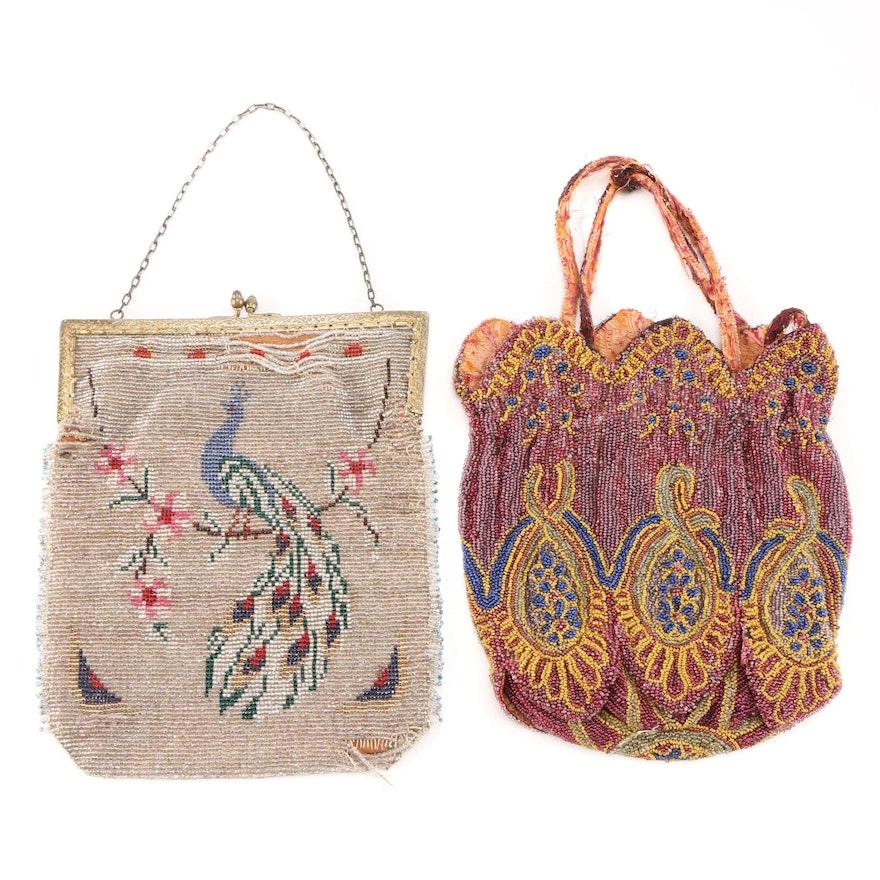 Victorian Era Glass Bead Peacock Motif and Petal Hem Evening Bags, Antique