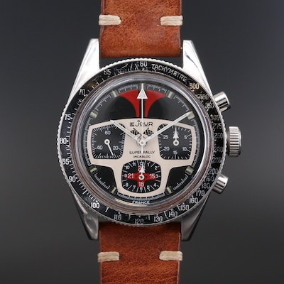 Vintage LeJour Super Rally Chronograph Stainless Steel Wristwatch