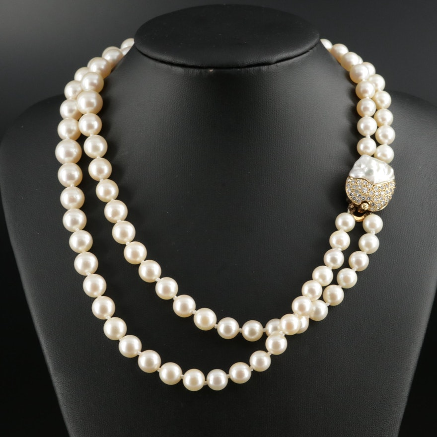 Tony White Hand Knotted Pearl Strand Necklace with 18K Diamond Clasp