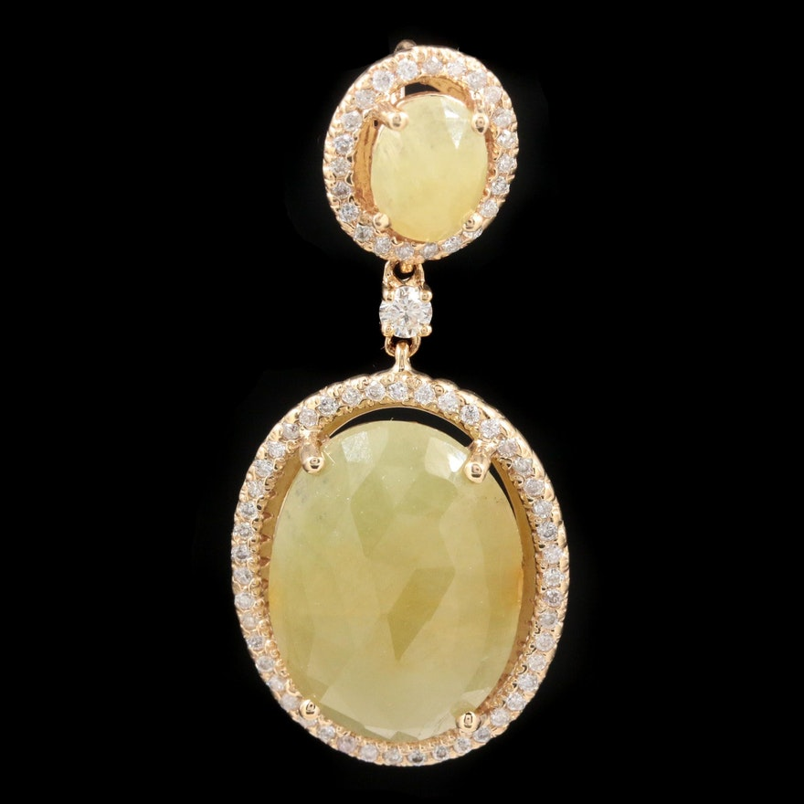 14K Yellow Gold Corundum and Diamond Pendant