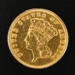 1859 Indian Princess Head $3 Gold Coin