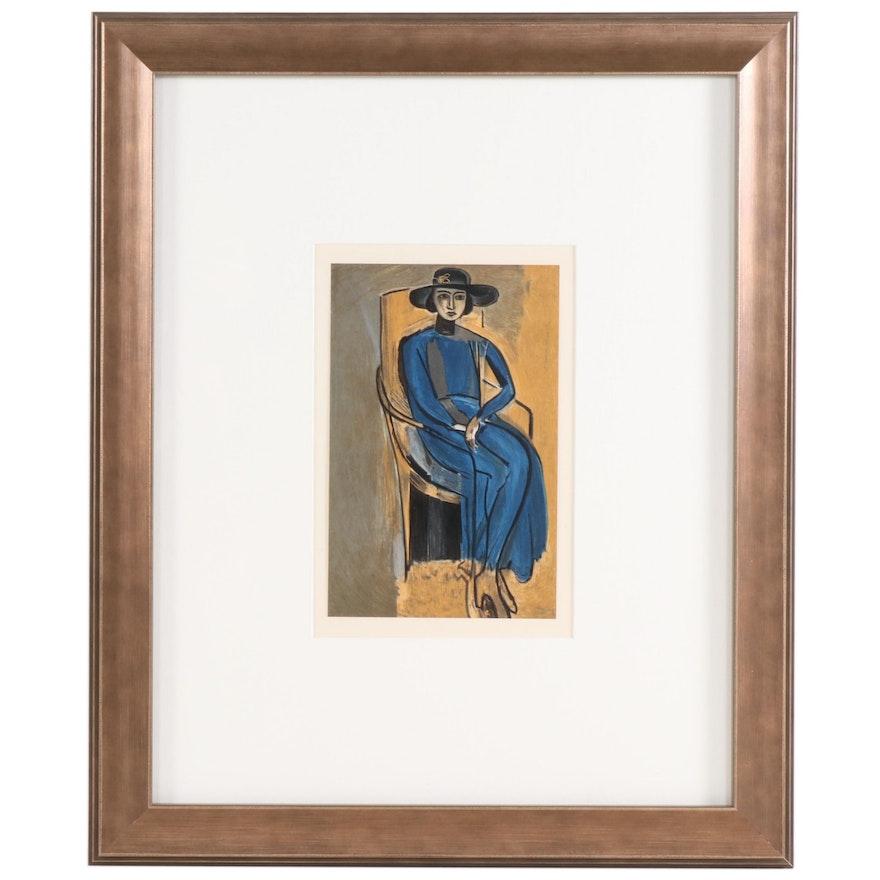 """Color Lithograph after Henri Matisse """"Portrait of Greta Prozor"""", 1954"""