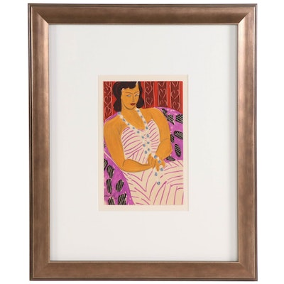 """Color Lithograph after Henri Matisse """"Woman in White"""", 1954"""