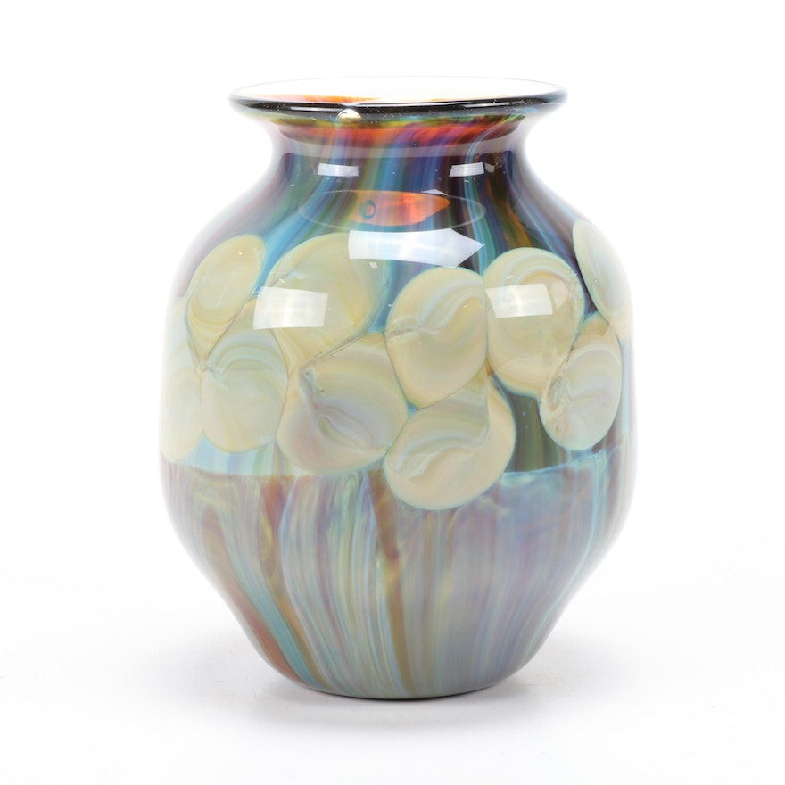 """Nick Delmatto Hand-Blown """"Chalcedony with Dots"""" Art Glass Vase"""