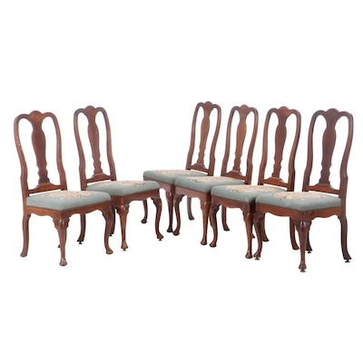 Six Queen Anne Style Walnut Dining Chairs in Needlepoint, 19th Century