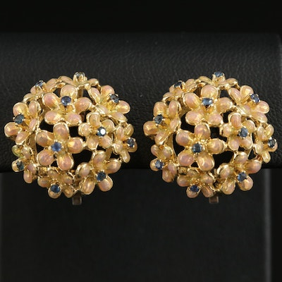 18K Gold Sapphire and Enamel Floral Button Earrings