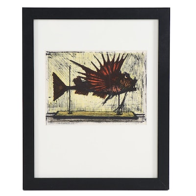 "Bernard Buffet Color Lithograph ""Hog Fish,"" 1967"