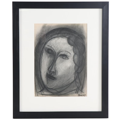 "Francisco Borés Lithograph ""Drawing of a Head"" for ""Verve,"" 1939"