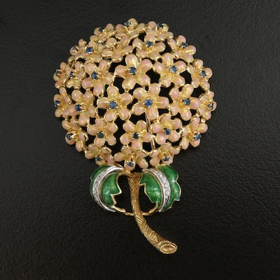 18K Yellow Gold Sapphire and Diamond Floral Enameled Brooch