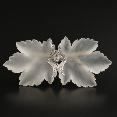 14K Gold Rock Crystal Quartz and Diamond Double Leaf Brooch