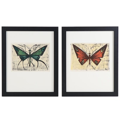 Bernard Buffet Color Lithographs of Butterflies, 1967
