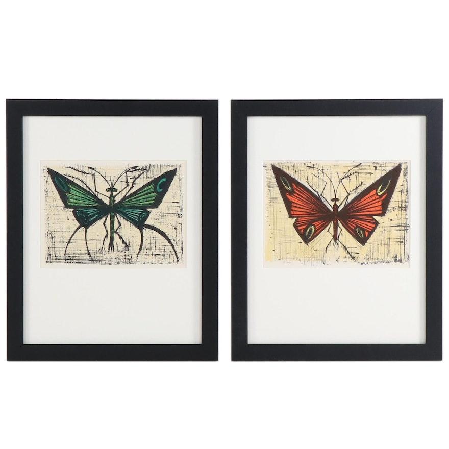 Bernard Buffet Color Lithographs of Butterflies, 1967