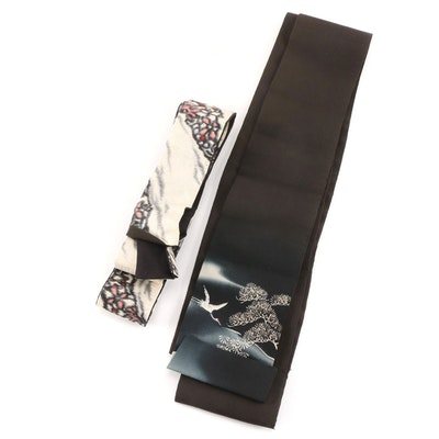 Hand-Painted Scenic Obi with Crane and Obi in Abstract Motif with Mon Emblem