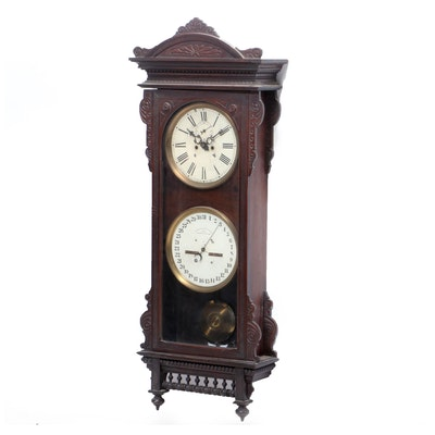 Waterbury #25, Eastlake Style Carved Walnut Calendar Clock, Late 19th Century