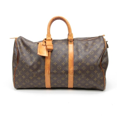 Louis Vuitton Paris Keepall 45 in Monogram Canvas and Vachetta Leather, Vintage