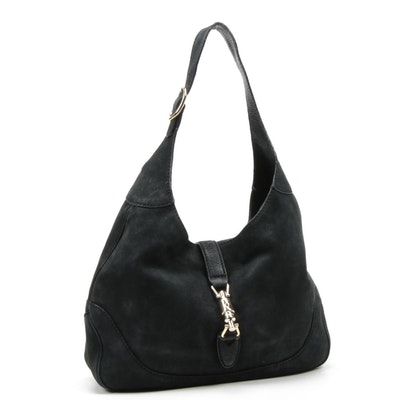 Gucci Jackie Black Soft Leather Piston Lock Hobo Bag
