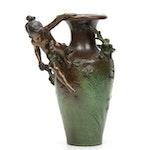 Auguste Moreau French Art Nouveau Spelter Vase
