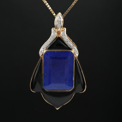 14K Gold Lapis Lazuli and Black Onyx Enhancer Pendant on Box Chain Necklace