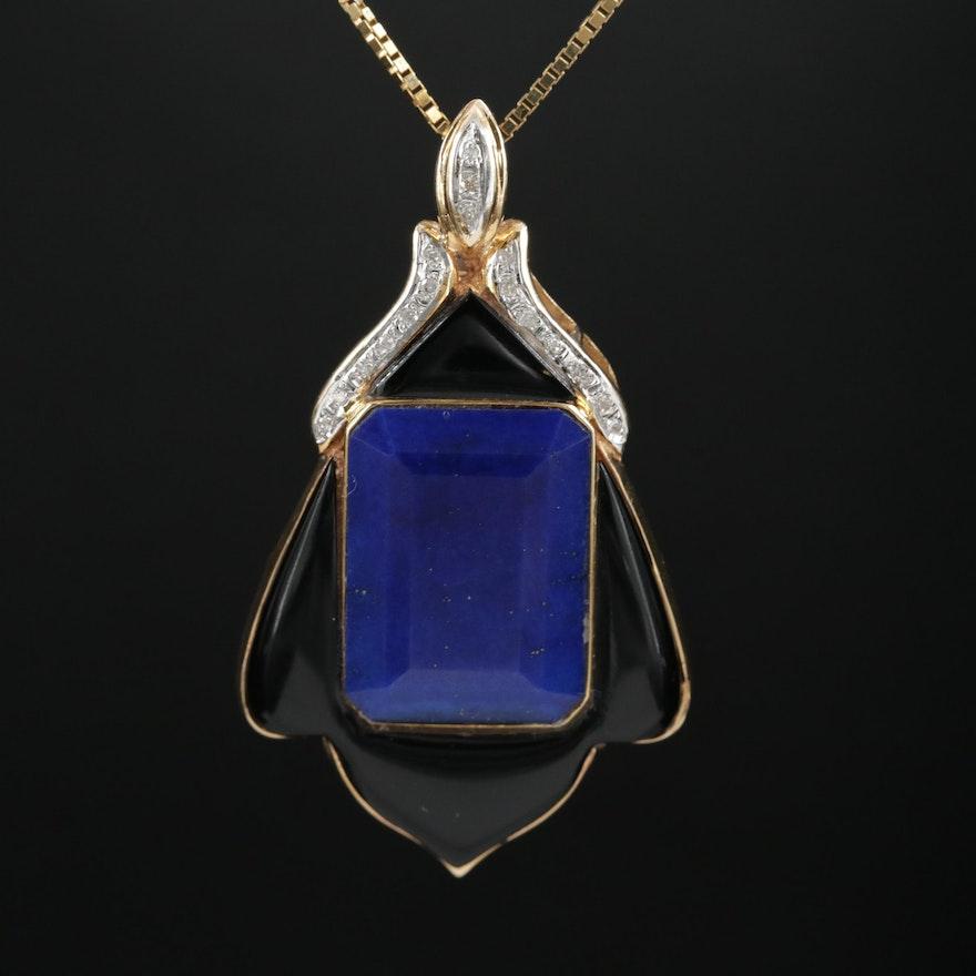 14K Gold Lapis Lazuli and Black Onyx Enhancer Pendant on Box Chain Necklace