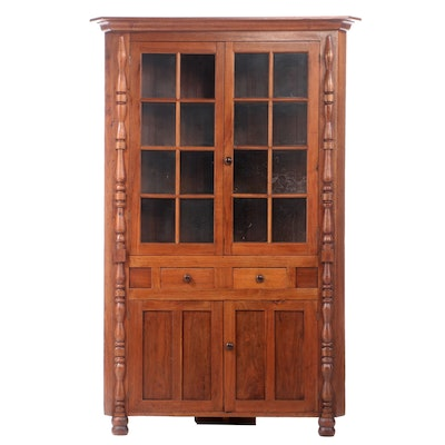 Walnut 16-Pane Corner Cupboard, Early to Mid-19th Century