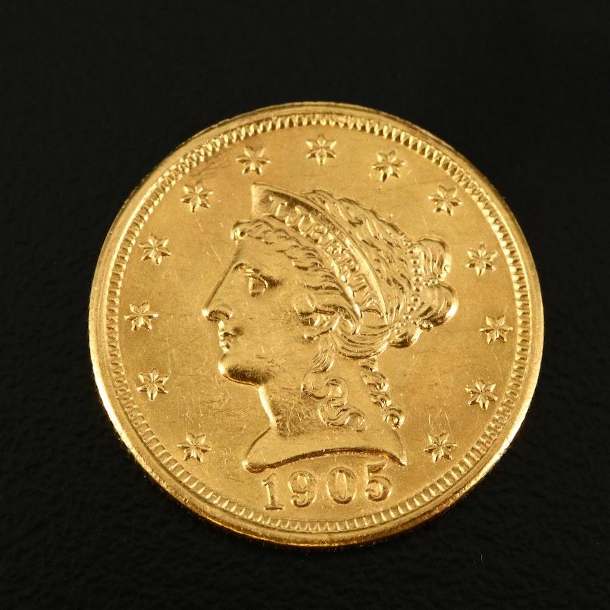 1905 Liberty Head $2.50 Gold Quarter Eagle Coin