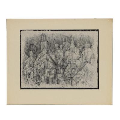 Leonard Maurer Abstract Brush Drawing of Houses