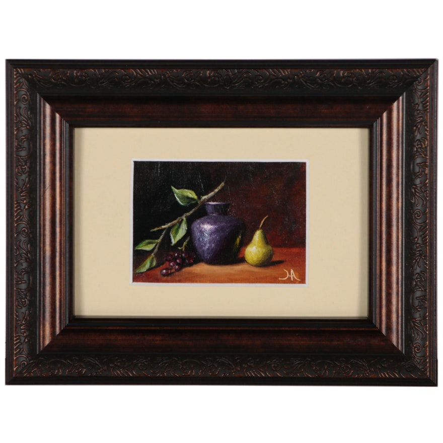 "Houra H. Alghizzi Miniature Oil Painting ""Still Life with Pear and Grapes"""