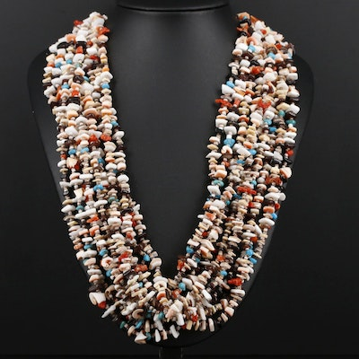 Southwestern Style Sterling Silver Turquoise, Coral, and Shell Necklace