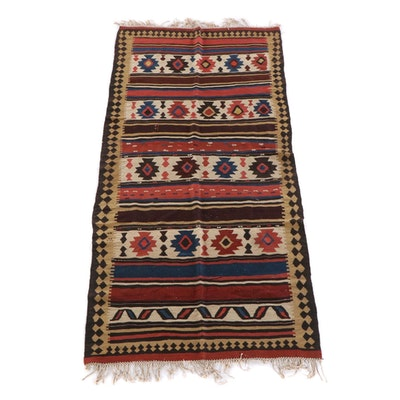 4'6 x 9'11 Antique Shasavan Kilim Wool Rug